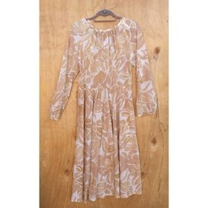 Vintage Kay Windsor teal cream floral leaf dress